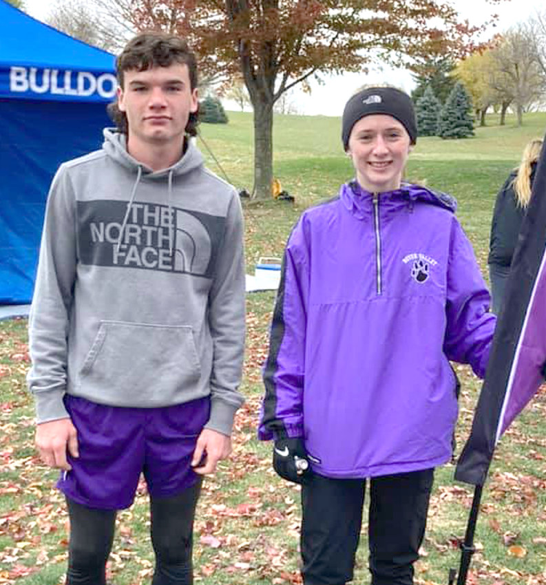 Boyer Valley will have two cross country standouts making their first appearance at the 2020 Iowa High School State Cross Country Championships on Oct. 31 in Fort Dodge.  Sophomore Patrick Heffernan (left) and freshman Abby Mandel both earned 10th place finishes at the Class 1A State Qualifying Meets on Oct. 23 in Audubon.