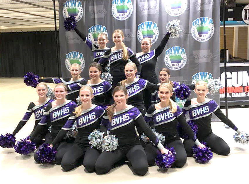 The Boyer Valley Dance Team competed at Iowa High School Dance Team Championships last week. Members of the 2020-21 Boyer Valley Dance Team include, front row, from left, Lauren Malone, Sydney Klein, Kylie Petersen, Amelia Bothwell, Claire Gross, MaKenzie Dumbaugh. Middle row, Kristin Bissen, Anna Seuntjens, Maci Miller, Rian Snavely. Back row, Jessica O'Day, Reagan Harris, Tara Bonsall. They are led by Coach Jill Melby. The results of the Iowa High School Dance Team Championships will be announced on Dec. 5.