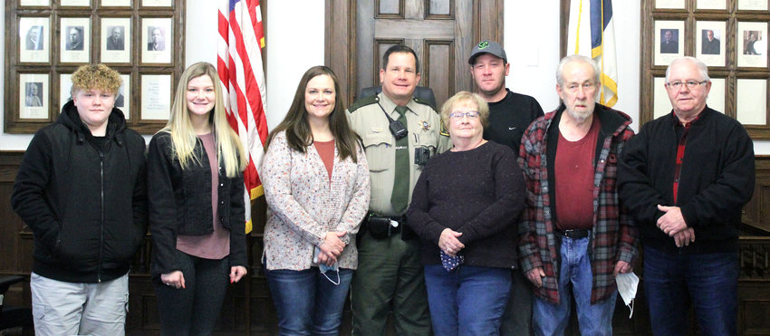 Harrison County Sheriff Brandon Doiel was joined by family at the Harrison County Courthouse on Monday, Jan. 4, as he took his Oath of Office. Joining Doiel, from left, are nephew Jordan, daughter Ashlyn, wife Amy, Doiel, mother-in-law Coleen Stolz, brother Jason, father Michael, and father-in-law Randy Stolz.