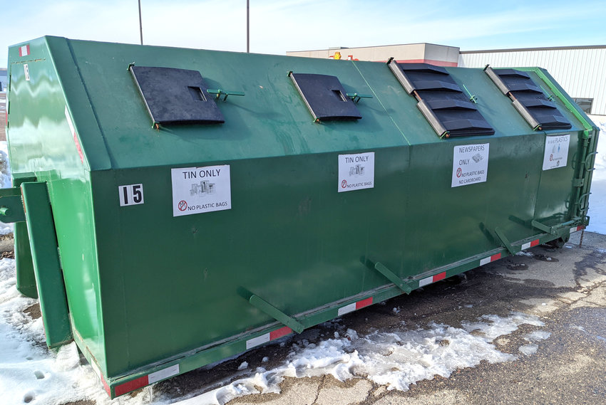 The recycling dumpster in Mapleton is located on 5th Street by Fiesta Foods.