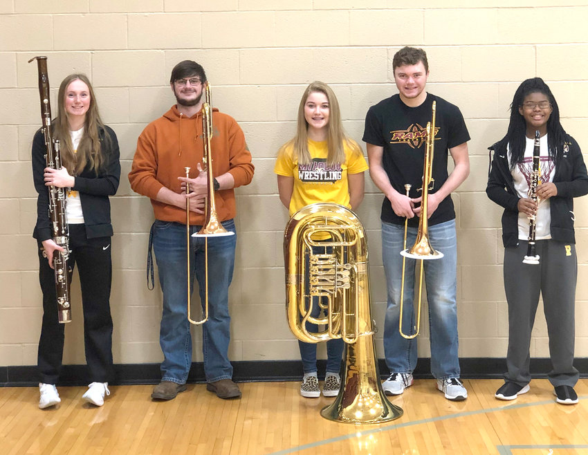 Emily Kovarna, Ryan Weber, Renae Cowgill, Will Forbes, and Jasmine Schaffer were selected to the NWIBA Honor Band.