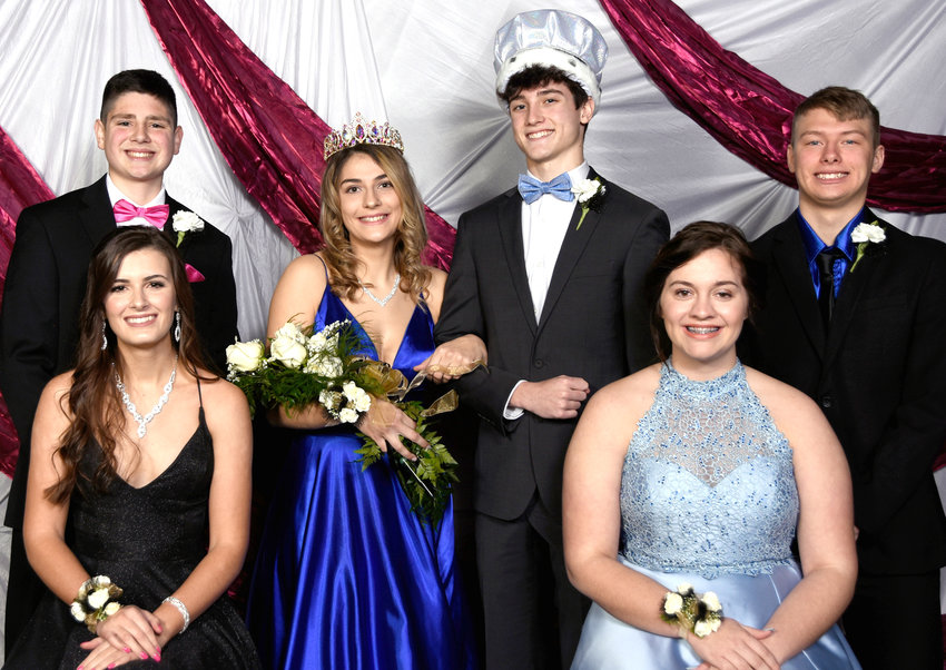 Woodbine's Winter Sports Royalty was announced on Feb.5 at the Winter Sports pep rally.  Shown above include, seated from left, Marissa Oestmann, Shannon Hopkins.  Back row, Carter Wagner, Queen Alyssa Schafer, King Conrad Schafer, Caleb Wakehouse.