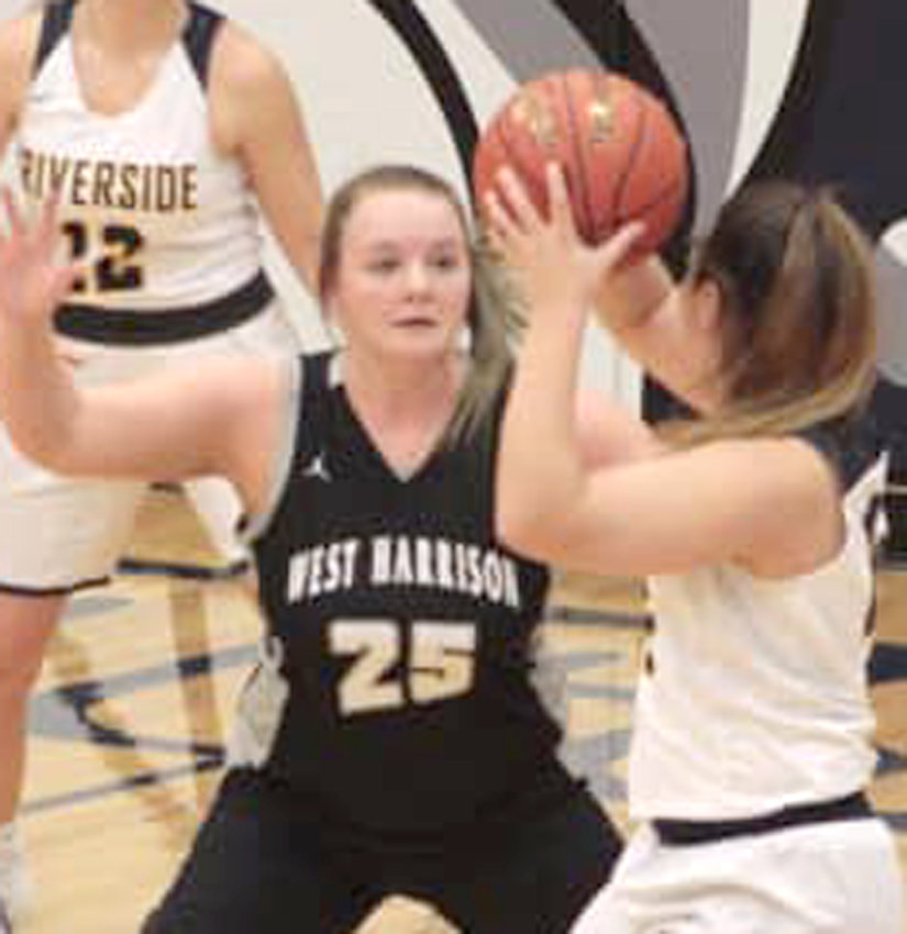 Haleigh Rife (24) pressures the ball in hte Class 1A Regional Tournament game on Feb. 11 in Oakland.
