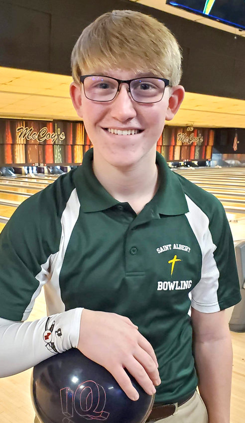 St. Albert's Evan White continues his solid season for the Falcons.  The Missouri Valley freshman bowled a 183 and 236 for a 419 series at the Class 1A District Bowling Meet in Council Bluffs on Feb. 17.
