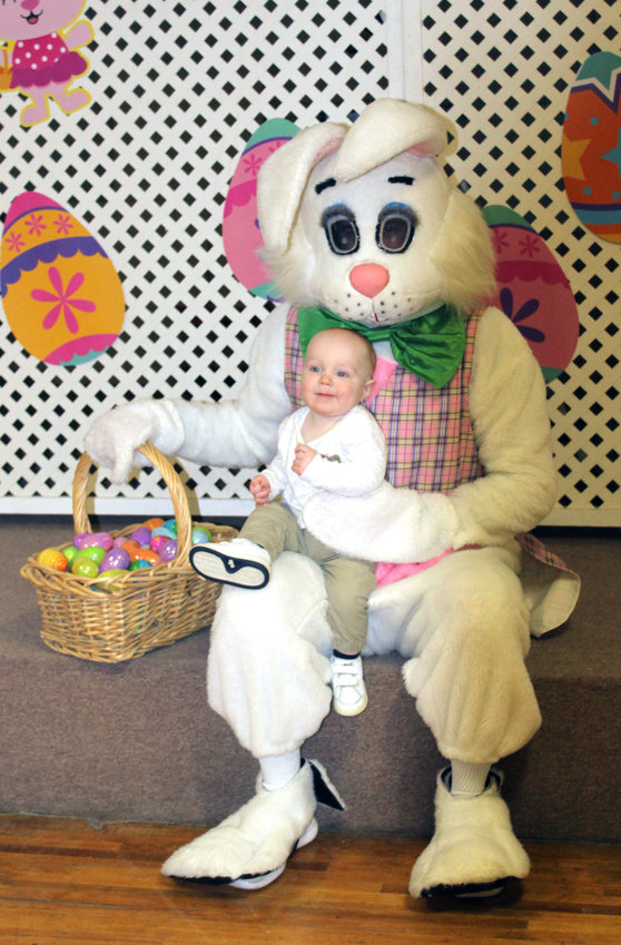 Cameron Belt enjoyed his time with the Easter Bunny at the inaugural Missouri Valley Chamber of Commerce Easter Egg Decorating Contest on Saturday, March 27.
