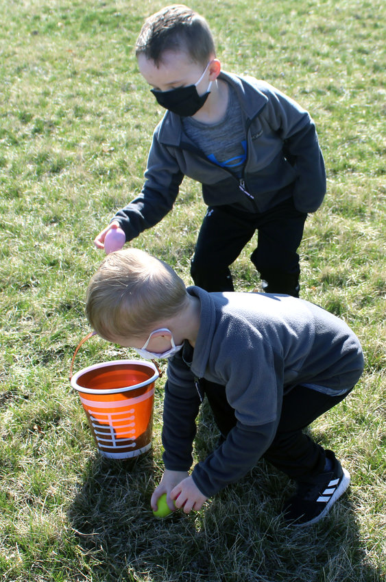 These boys shared a basket, filling it up twice as fast at the Easter egg hunt in Dunlap on Saturday, April 3.