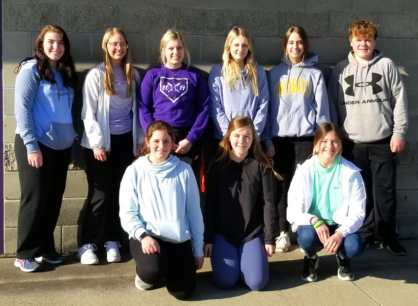 Area youth assisted with the Dunlap Easter egg hunt this year. They are pictured here, front row from left: Jenna Mitchell, Zoey Soma, Mariah Flakena. Back row from left: Abbie Miller, Maci Miller, Leah Cooper, Makenzie Dunbaugh, Jaci Petersen, and Cale Soma.
