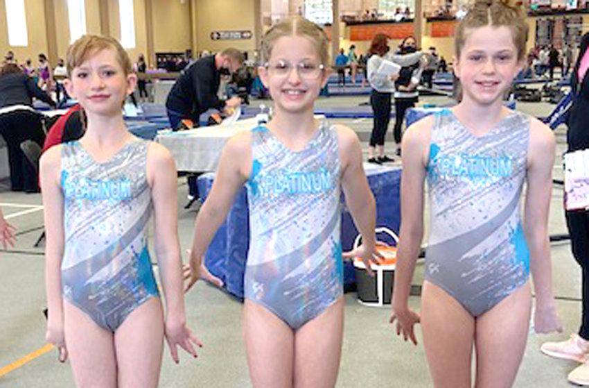 BRONZE: (from left), Katy Heim (Woodbine); Bristol Ferris (Missouri Valley); Charlotte Heistand (Dunlap).