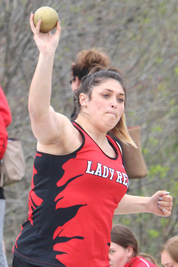 Missouri Valley's Allison May earned a sixth place finish in the shot put at the Lady Reds Relays on April 27 in Missouri Valley.