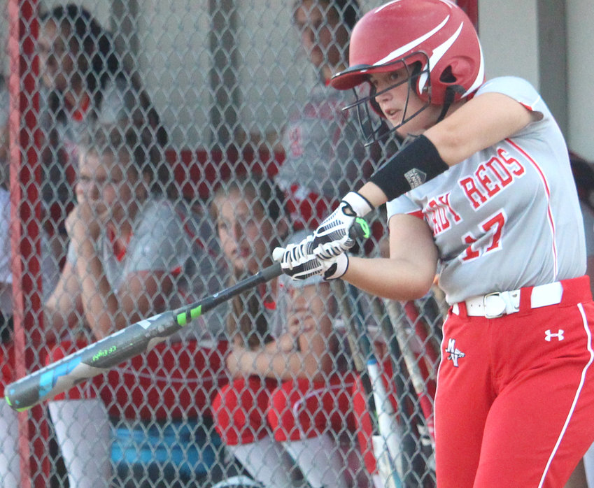 Missouri Valley's Maddie Hansen takes her final warm-up swings before her at-bat in last week's Western Iowa Conference battle.