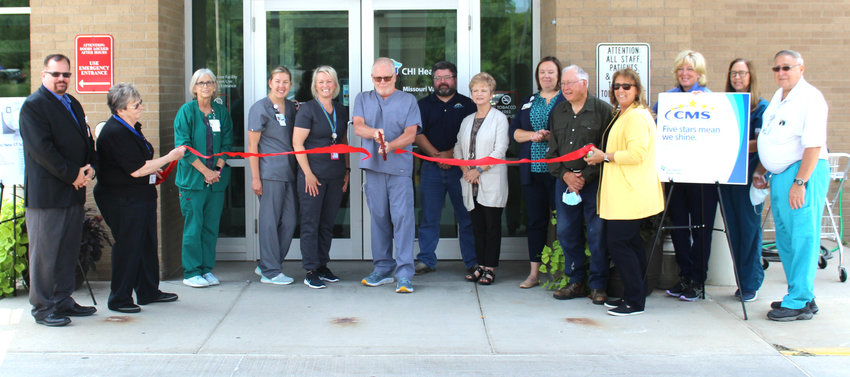 Representatives from CHi Health Missouri Valley, including the Radiology Department, joined representatvies of the City of Missouri Valley and the local Chamber of Commerce for a ribbon cutting on Aug. 4 after unveiling the facilitiy's new CT Scanner.
