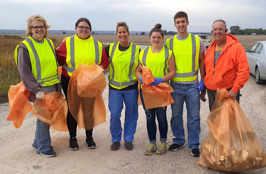 Theresa Menke, Abby Menke, Amy Christensen, Rylie Smith, Evan Christensen and Larry Christensen participated in the annual Onawa-Blencoe Knights of Columbus #6249 roadside cleanup last Saturday.