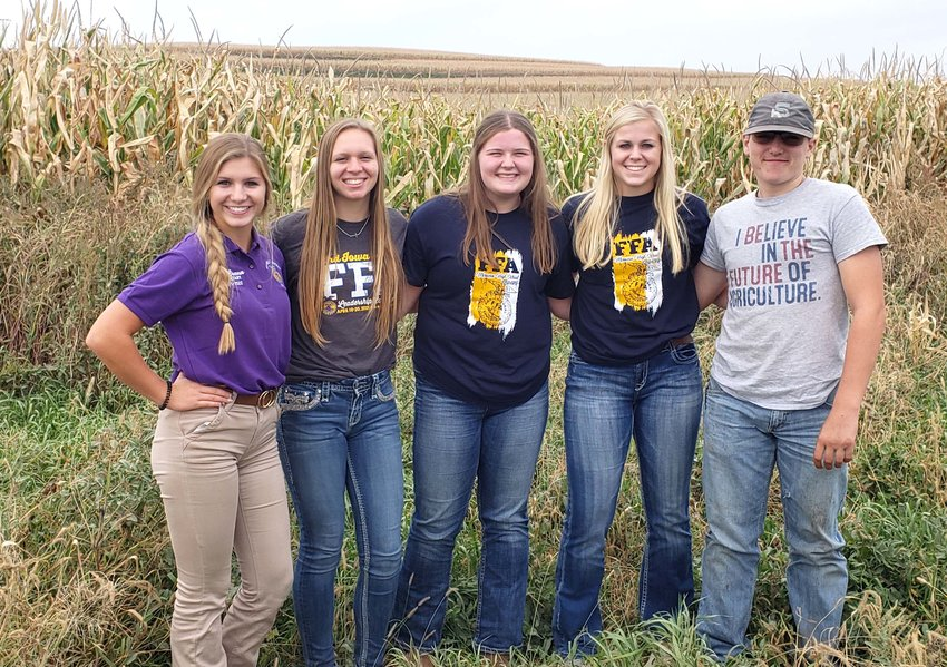 MVAO FFA members tried something new on September 29. A team of Molly Fitzpatrick, Ashley Rosener, Rachel Allen, and Carsten Hadley went to Emmetsburg to do soil judging. Mr. Wimmer had given them a lesson on soil judging the day before. They tried their best to learn fast and were successful. The MVAO soil judging team were just two points away from placing 10th out of 26 teams. They are ready to come back next year with more knowledge and experience. District Officer, Katie Brenner had to work at the event that day. She helped run the event with the rest of her officer team. The MVAO FFA are staying busy and trying new things.Pictured are Katie Brenner, Ashley Rosener, Molly Fitzpatrick, Rachel Allen, and Carsten Hadley. Submitted by MVAO FFA Reporter, Ashley Rosener