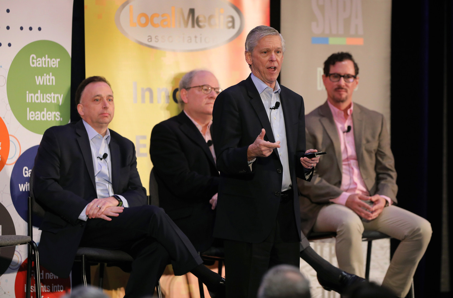 Jim Moroney A.H. Belo and The Dallas Morning News, Mark Aldam (Hearst), Jeremy Halbreich (AIM Media Management) and Mark Adams (Adams Publishing Group) -- Investing in Newspapers in 2018