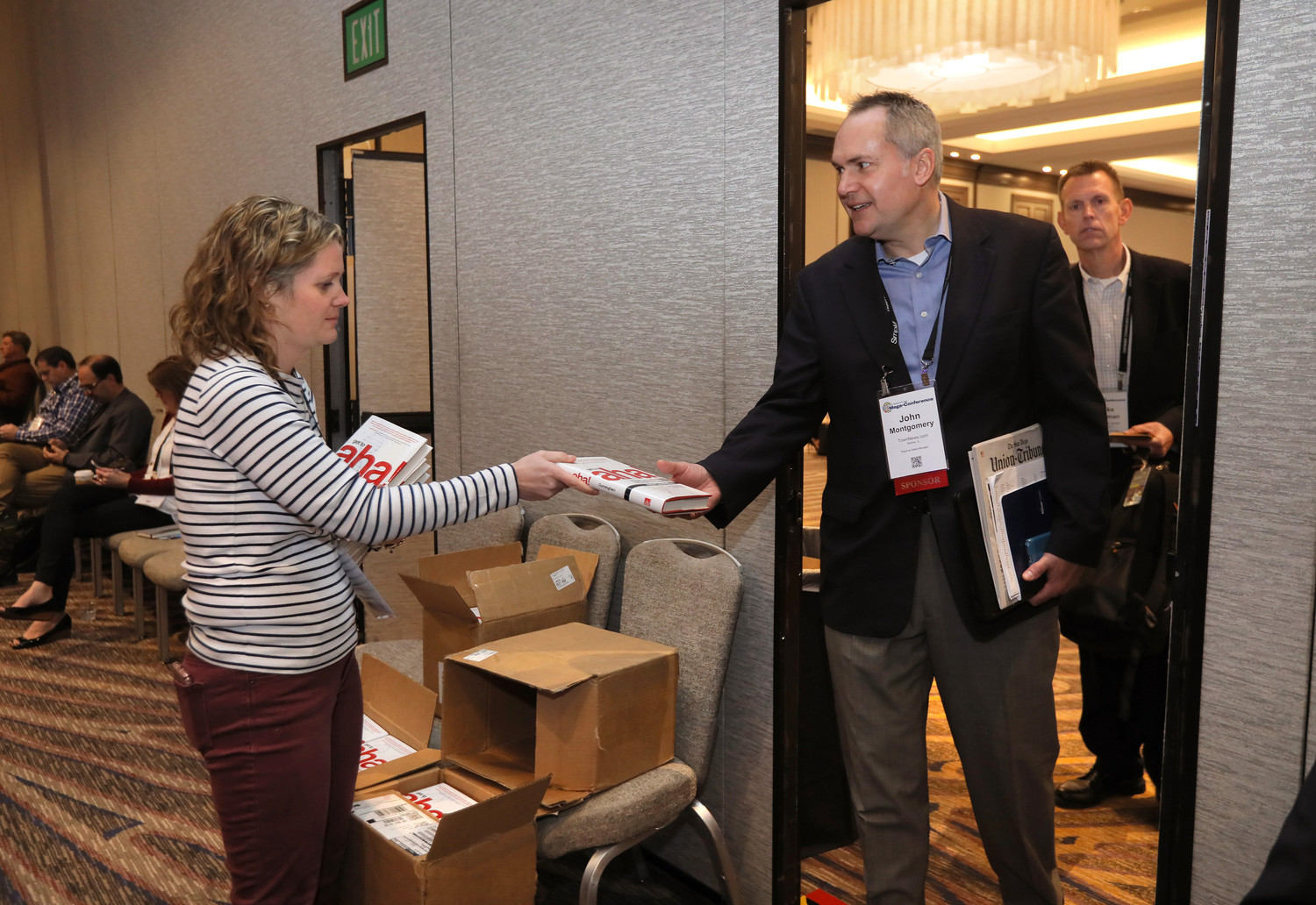"Attendees at the closing session of the conference went home with free copies of Andy Cunningham's book; ""Get to Aha!"""