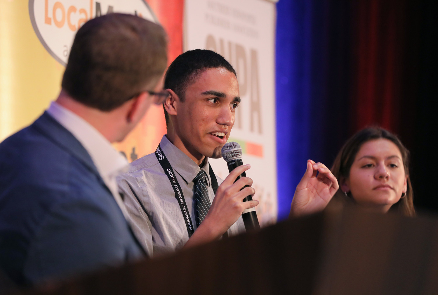 James Tyner, a student at USC Annenberg School of Journalism, shares his thoughts during the Future of Journalism panel