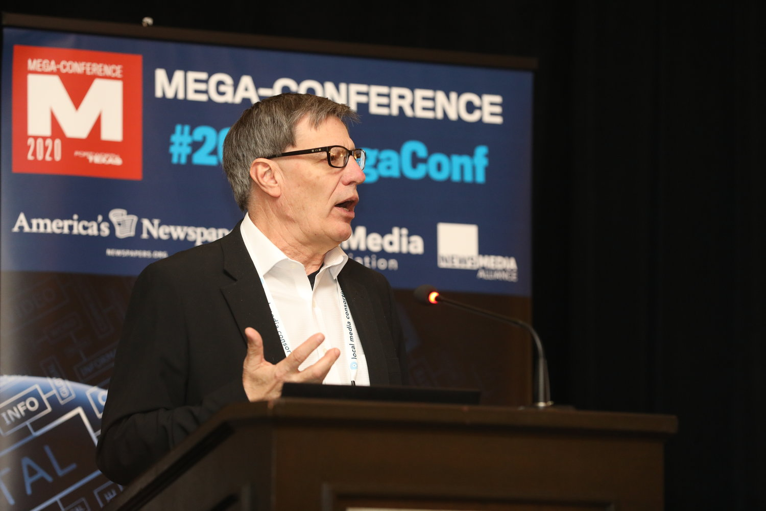 Jim Stevenson of Spinal Column Newsweekly Media at the 2020 Mega-Conference. (Photo by Bob Booth)