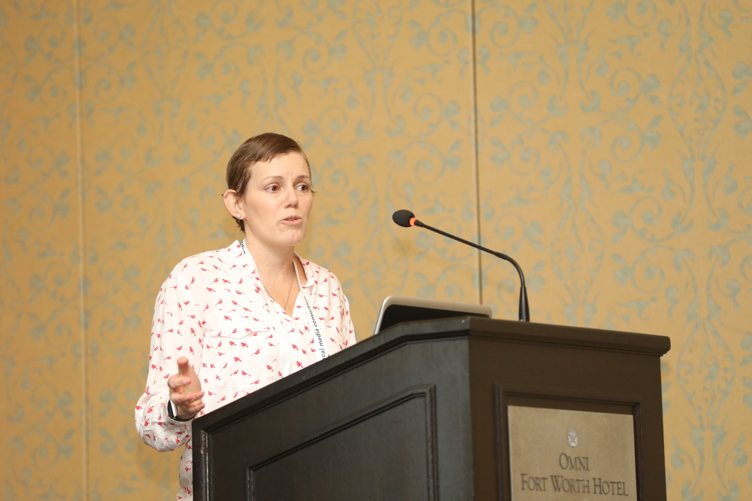 "Mandy Jenkins of The Compass Experiment (McClatchy) at the 2020 Mega-Conference on ""Making News Deserts Bloom Again."" (Photo by Bob Booth)"