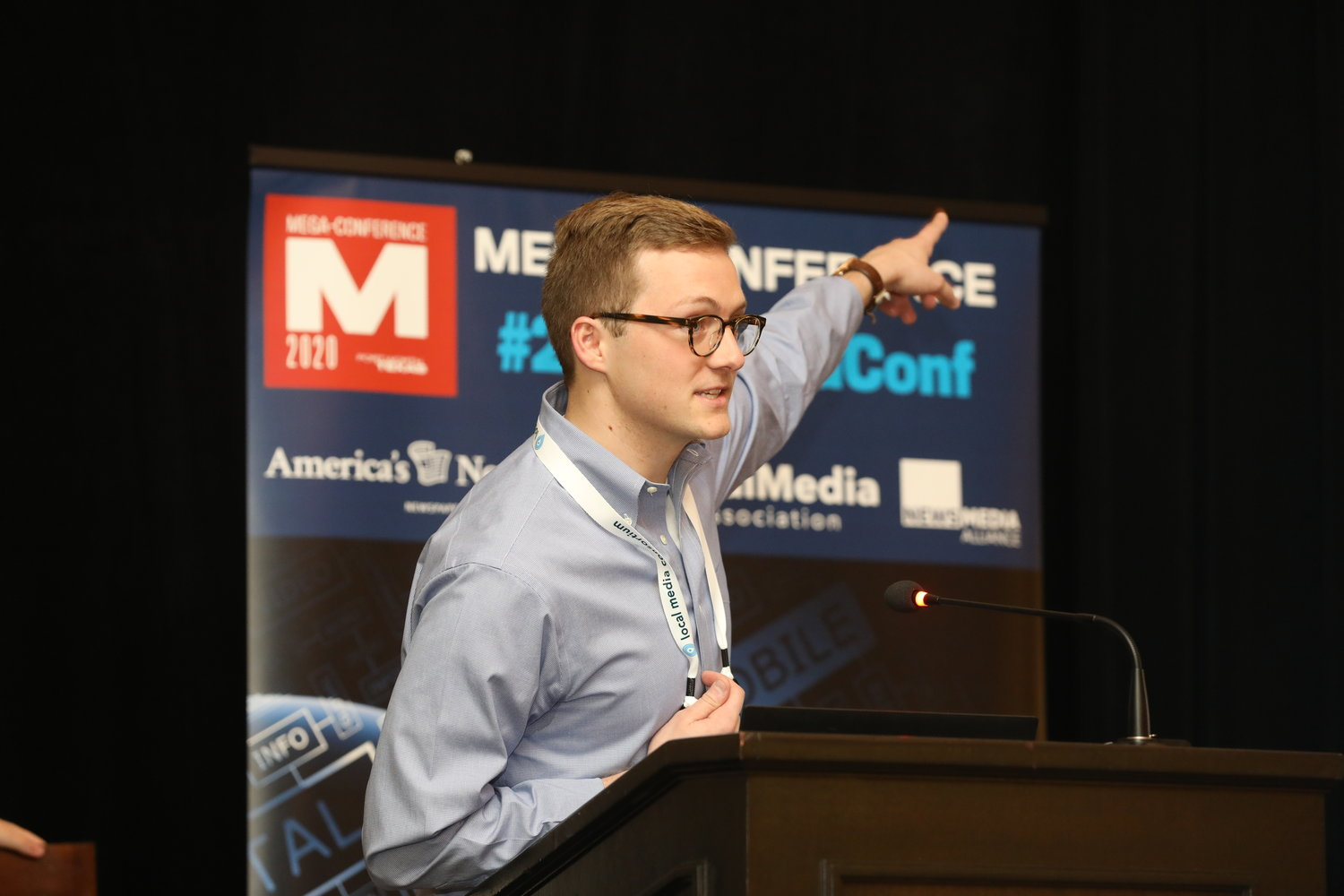 Jake Seaton of e-notice at the 2020 Mega-Conference, talking about a free digital platform to keep public notices where they belong: in the newspaper. (Photo by Bob Booth)
