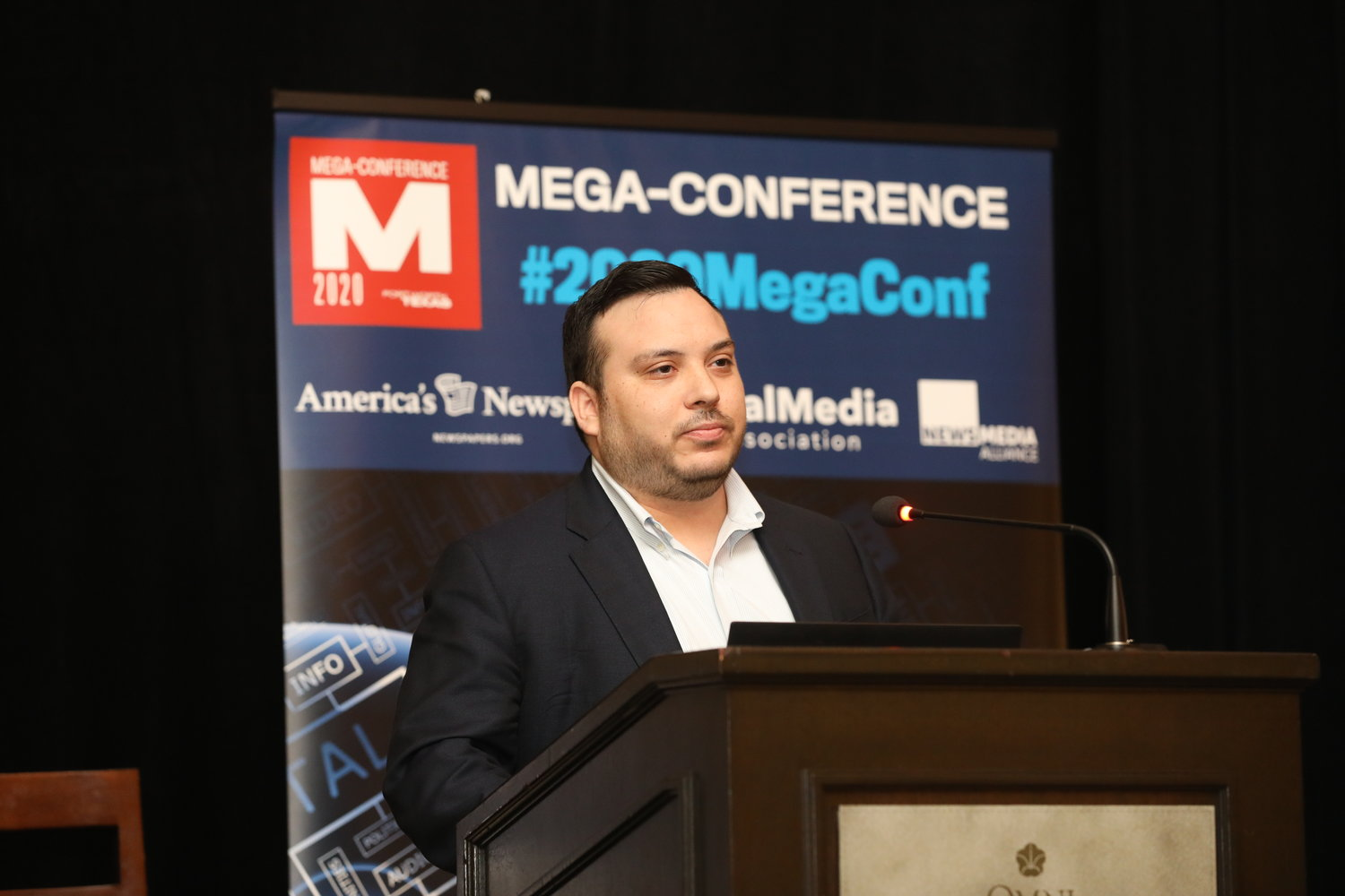 Zack Richner of Arrandale Ventures discusses an initiative to leverage the power of community publications to promote and profit from high-growth businesses. Tuesday, Feb, 18, at the 2020 Mega-Conference. (Photo by Bob Booth)