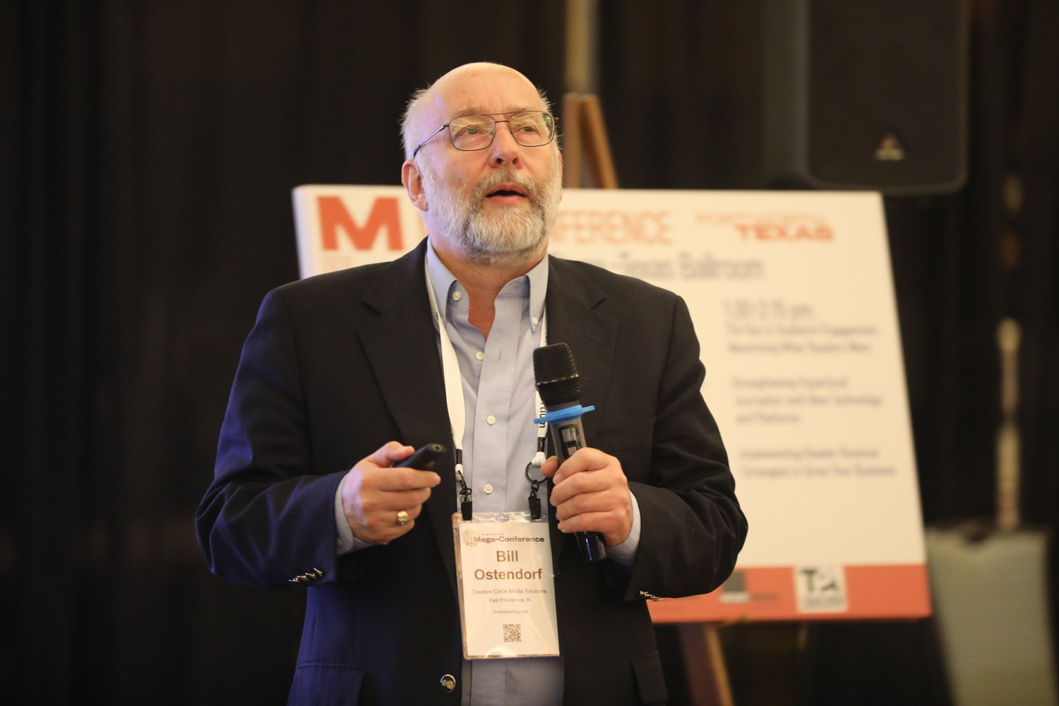 "Bill Ostendorf of Creative Circle Media Solutions on ""North America's Digital News Deserts."" Tuesday, Feb. 18, at the 2020 Mega-Conference. (Photo by Bob Booth)"