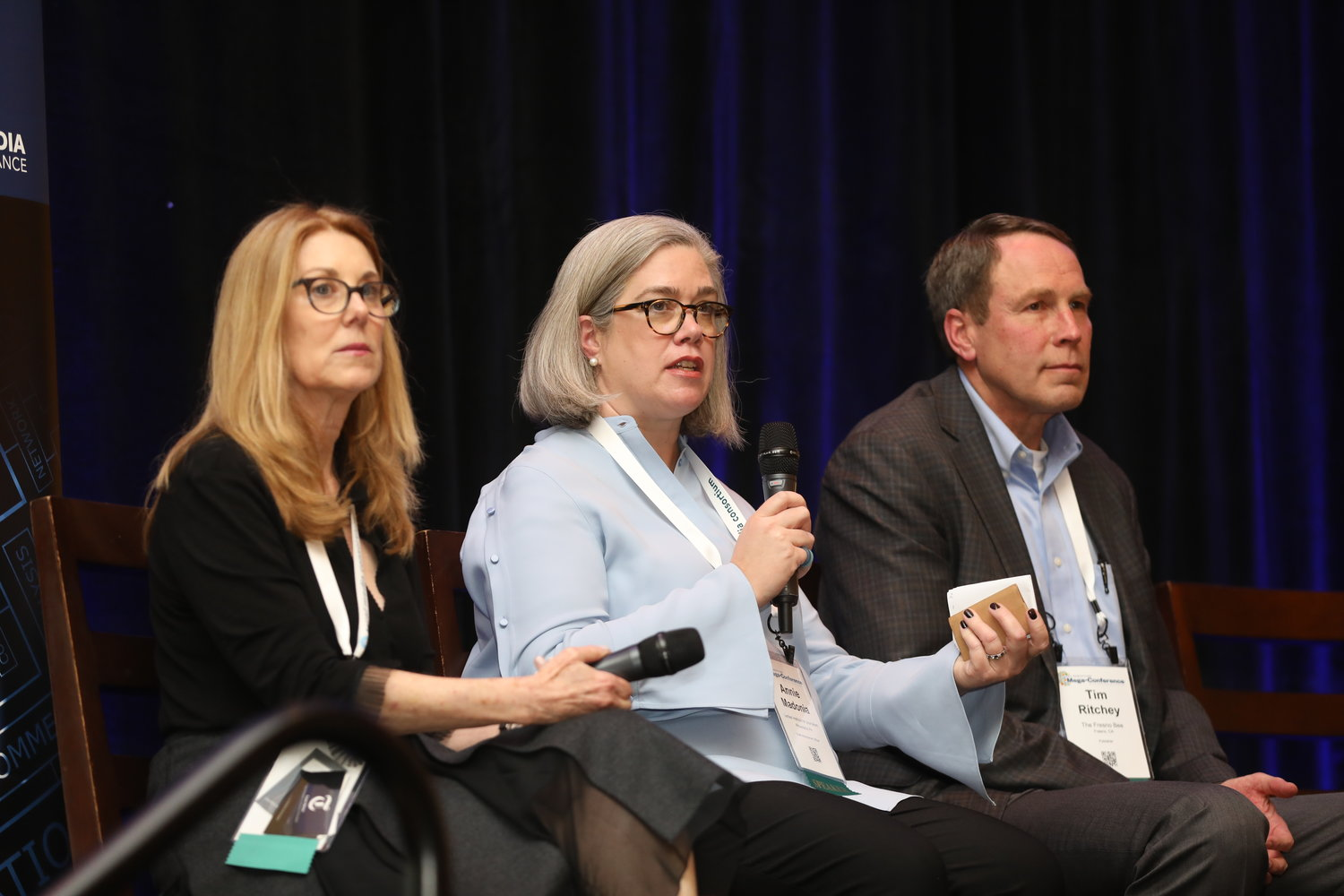 "Fraser Nelson, Annie Madonia and Tim Ritchey on ""Funding Outside the Box"" at the 2020 Mega-Conference. (Photo by Bob Booth)"