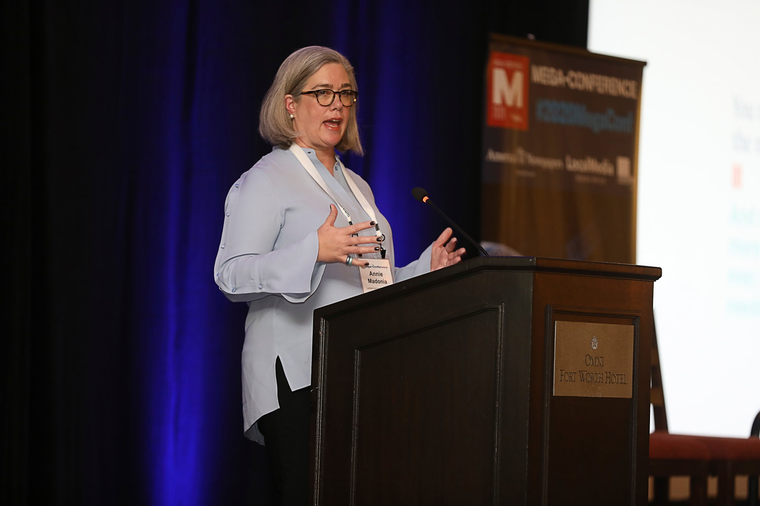 "Annie Madonia of The Lenfest Institute on ""Funding Outside the Box"" at the 2020 Mega-Conference. (Photo by Bob Booth)"