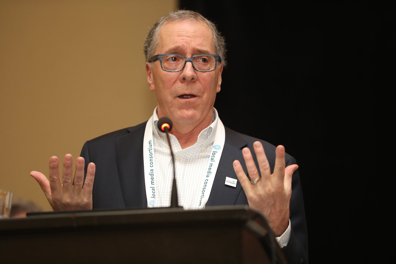 Alan Fisco, president and chief financial officer of The Seattle Times and vice president of America's Newspapers, at the 2020 Mega-Conference. (Photo by Bob Booth)