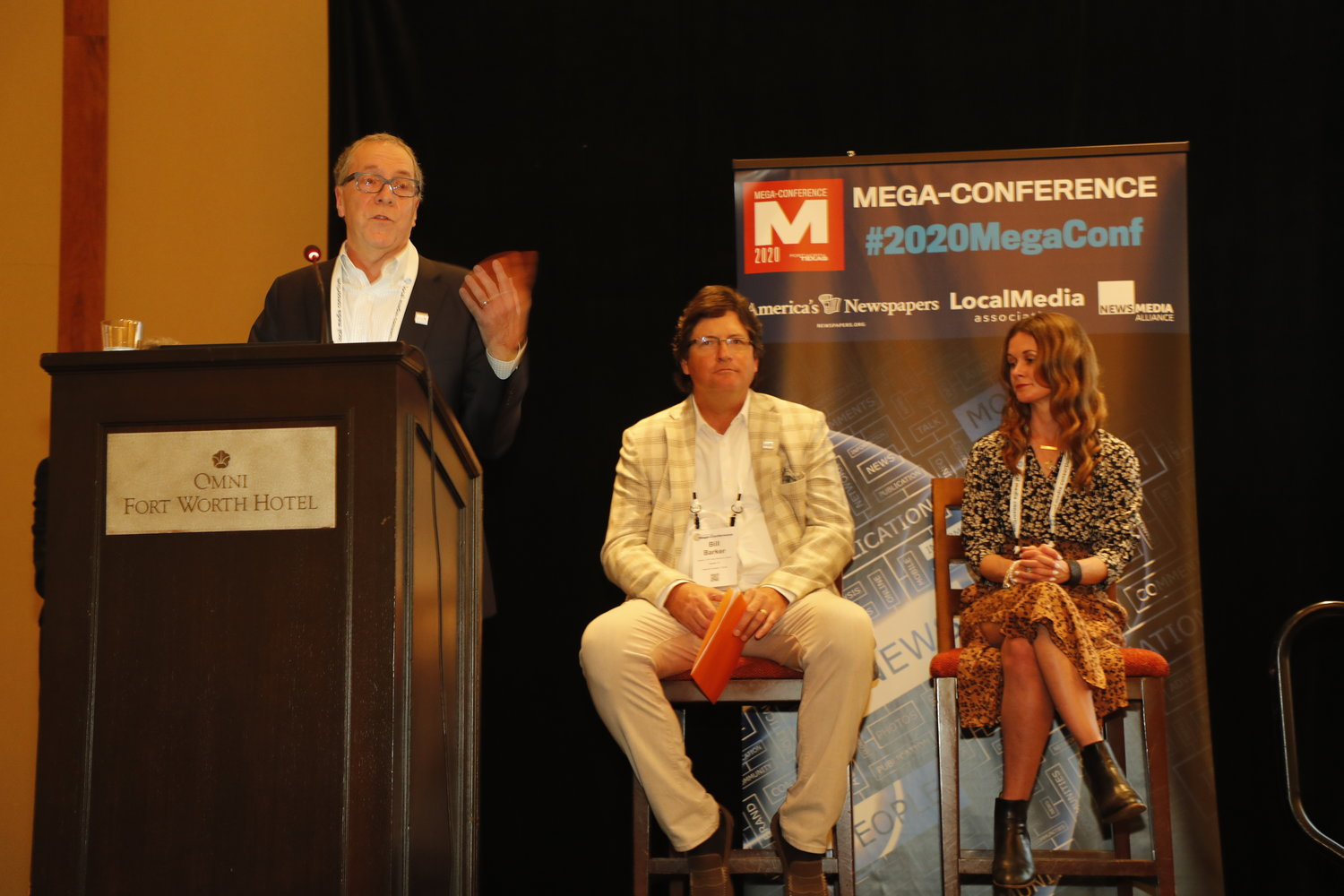 Alan Fisco, Bill Barker and Jessica Baldwin with tips on spreading the word about your newspaper's worth to your community. Monday, Feb. 17, at the Mega-Conference. (Photo by Bob Booth)