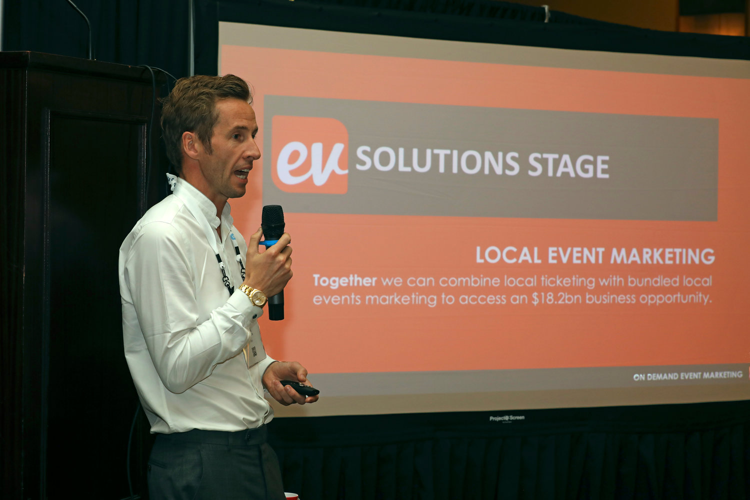 Richard Green of Evvnt at the 2020 Mega-Conference. (Photo by Bob Booth).
