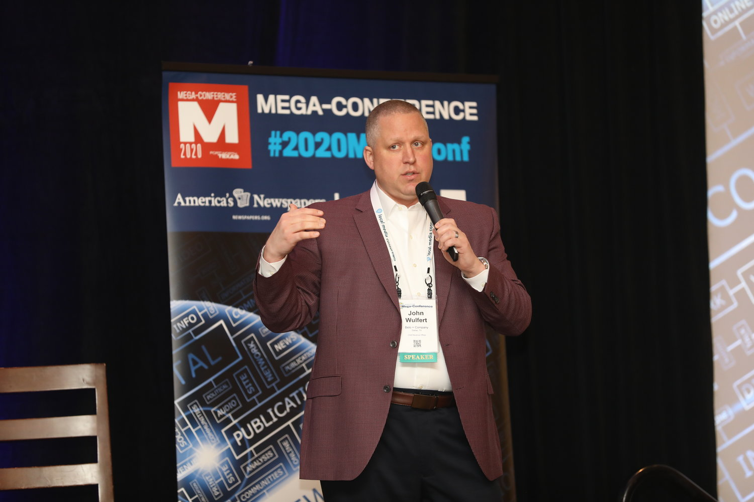 John Wulfert, chief revenue officer of Belo + Company, at the Mega-Conference. (Photo by Bob Booth)