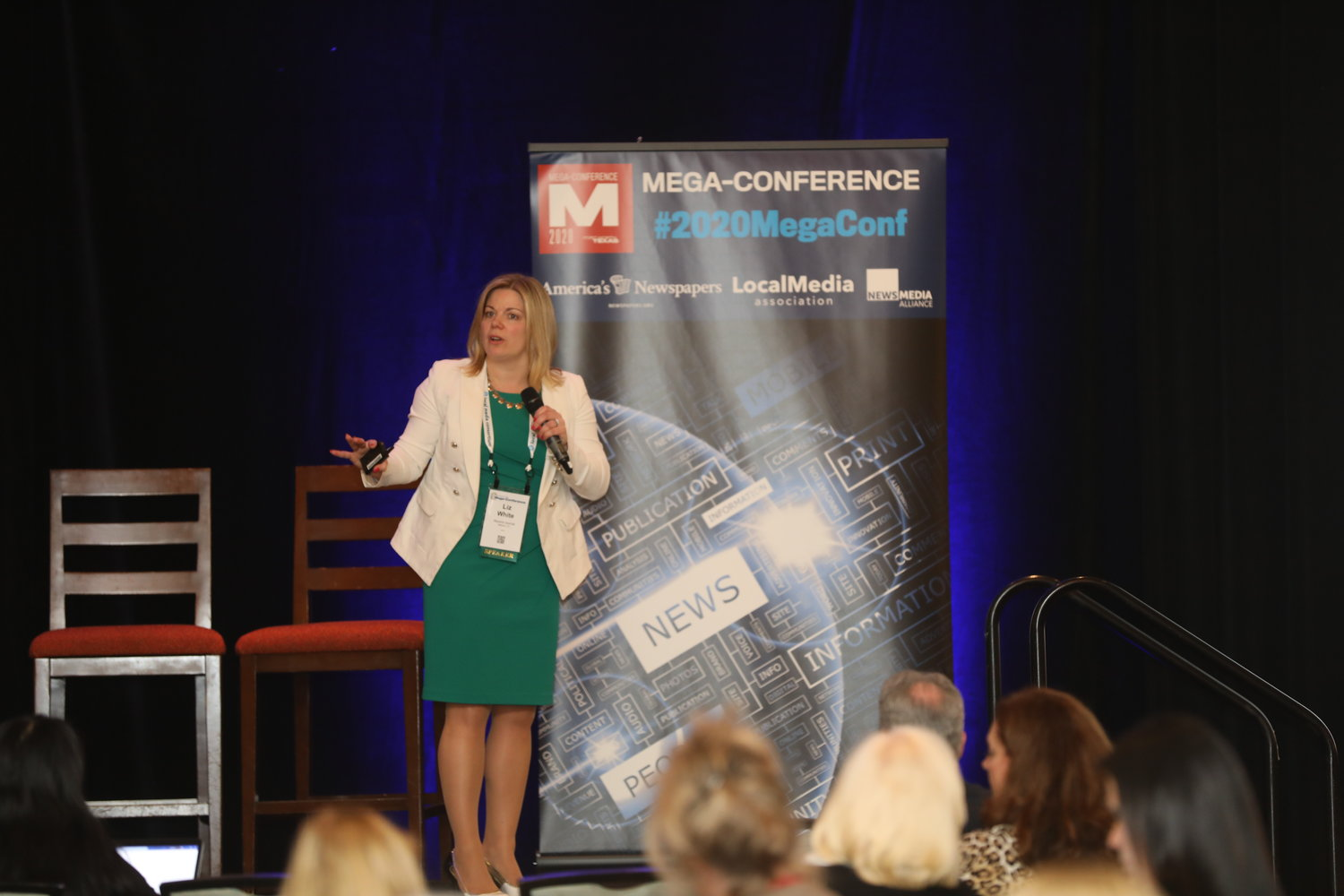 Liz White, publisher and executive vice president of Record-Journal Media Group, at the Mega-Conference. (Photo by Bob Booth)