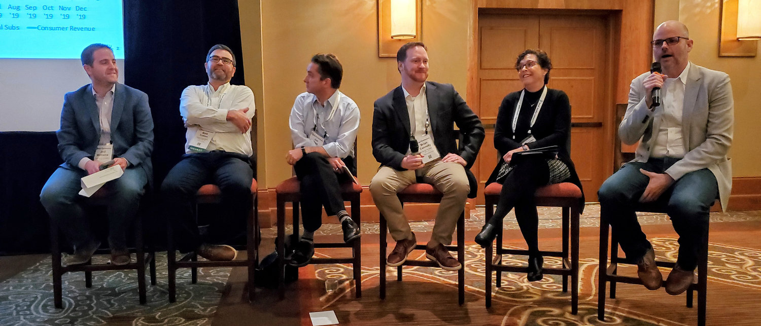 Panelists in the digital subscriptions/consumer revenue session share a laugh: (from left) Jed Williams, LMA; Matt Fulton, MaineToday Media; Jon Rust, Southeast Missourian; Brian Connolly, The Buffalo News; P.J. Browning, The Post and Courier; Pete Doucette, FTI Consulting.
