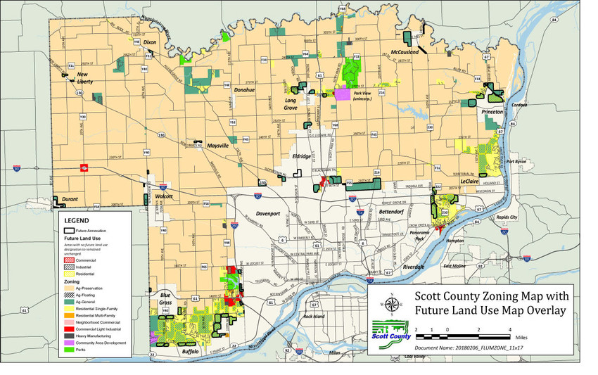 Scott County's revised land use map proposal identifies farmland areas adjacent to cities that might accommodate residential or commercial development.