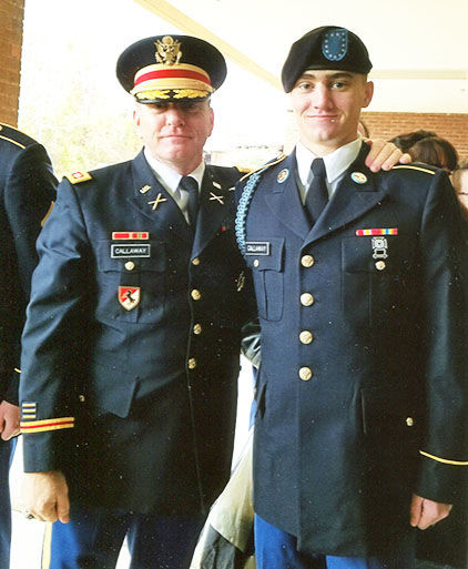 Lt. Colonel David Callaway, right, and Reece Callaway, left, are shown after graduation on Dec. 8.