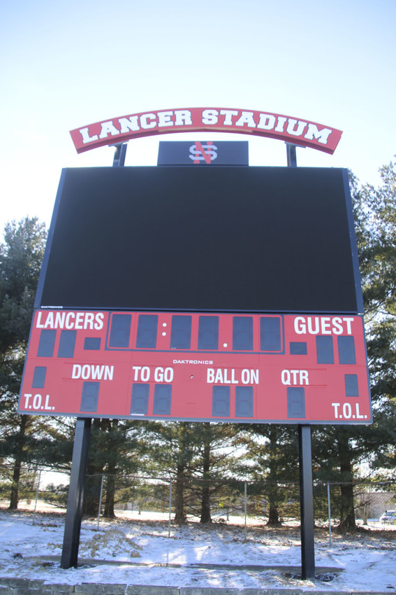 Lancer Legacy contributed $100,000 to the purchase of this $250,000 video scoreboard that was installed at Lancer Stadium last week.