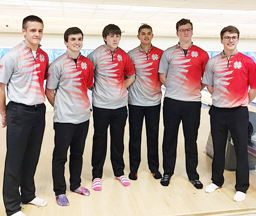 These six Lancer bowlers obliterated the school record with a 3354 outing during the match with Clinton on Monday, Jan. 22. From left: Eric Dobbe, Brock Larson, Beau Lillyblade, Seth Meyer, Isaac Neymeyer and Mitch Larson. The same six bowlers also finished first in the 2A division of Saturday's Lancer Invitational.