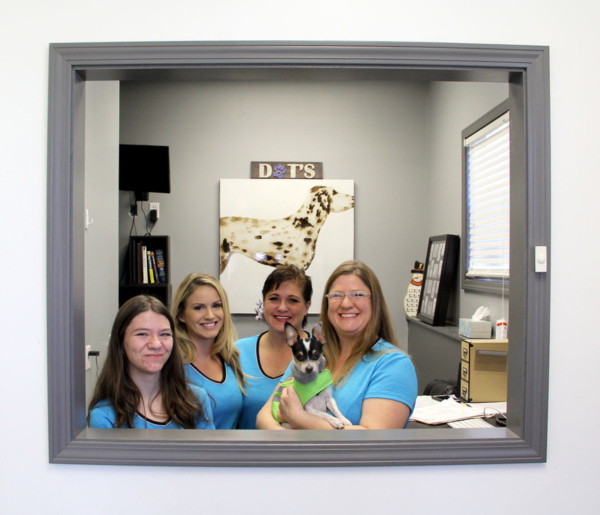 Jennifer Osborne, right, owner of Dot's Groom and Board, Calamus, poses with staff, including, from left, her daughter Rhiannon Rohm, Lydia Collings, Monica Hayes and Bruiser.