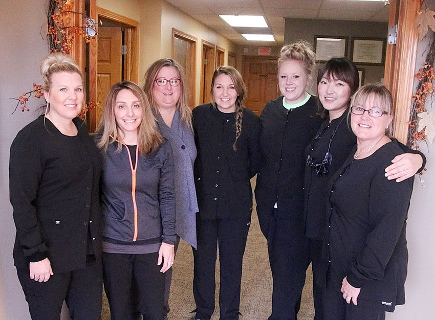 These are the friendly faces who greet patients at Classic Concepts Family Dentistry in Eldridge. From left: Buffy Vogt, Dr. Katie Pins, Jen Felsman, Kalee Pray, Lindsey Shontz, Dr. So Young Park and Jody Passig.