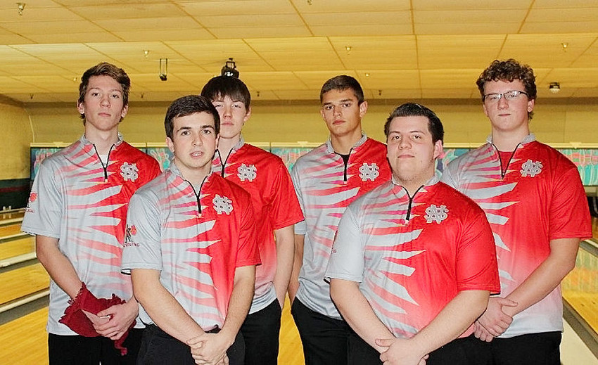 Leading the Lancer varsity bowling team into action in their season opener with Pleasant Valley were (l-r) Aaron Vandivier, Brock Larson, Beau Lillyblade, Seth Meyer, Zach Rangel and Isaac Neymeyer.