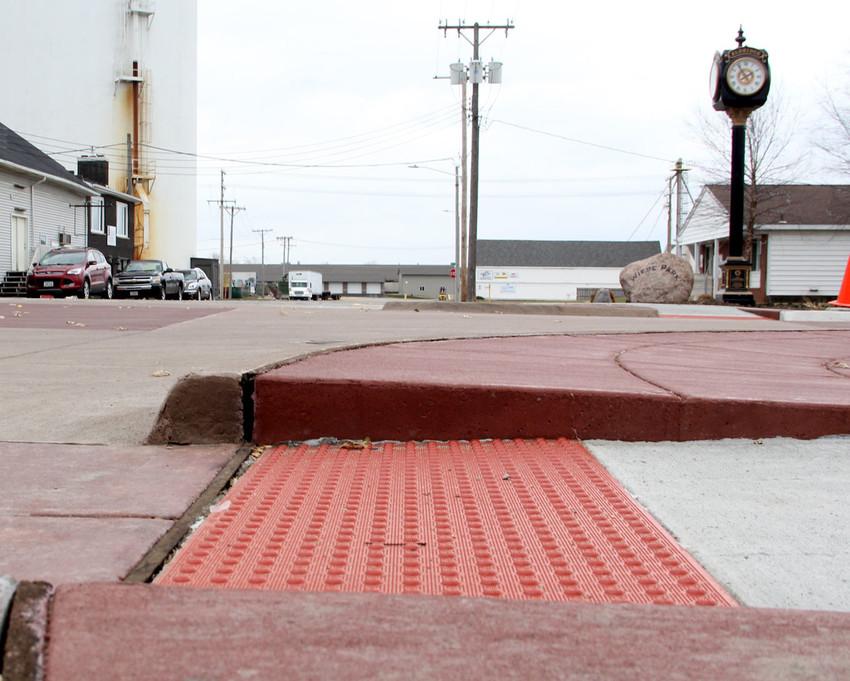 The ramp curbs in downtown Eldridge.