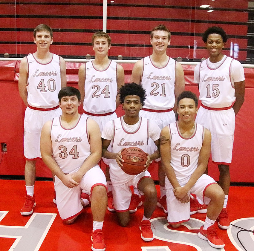 Providing much-needed leadership for the 2017-2018 North Scott boys' basketball team will be this group of upperclassmen. Front (l-r): Brooks Sunny, Cortaviaus Seales and Gary Morgan. Back: Noah Harmon, Austin Helton, Reece Sommers and Corvon Seales.