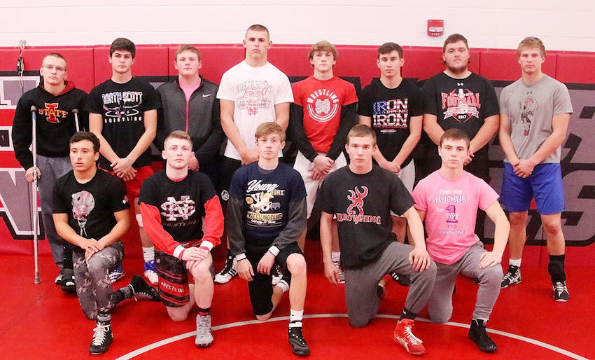 These North Scott seniors and letter winners will provide plenty of leadership on and off the mat. Front (l-r): Quentin Albright, Caleb McCabe, Cael Bredar, Mikey Wheeler and Brian Hilsenbeck. Back: Drake Golinghorst, Austin Clark, Collin Costello, Zach Petersen, Collin Lewis, Eric Long, Cole Ernst and Jared Rus.