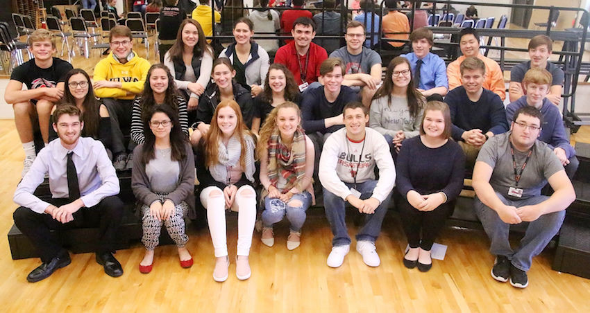 These North Scott High School students were named All-State musicians and will be performing at the All-State Music Festival in Iowa State University's Hilton Coliseum Saturday night. Front (l-r): Kyle Jecks, Ivy Jensen, Lauryn Youngers, Isabelle Kook, Jaydon Boley, Abby Jecks and Ben Council: Middle: Jasmine Sydnes, Abi Jensen, Natalie Romanick, Isobel LaCorte, Keegan Harry, Joie Stoefen, Cooper Harrison and Drew Dowda. Back: Cale Bowe, Mitch Larson, Alexis Ernst, Grace Romanick, Riley Sindt, Sam McCammant, Marc Gaskin, Kraig Leahy and Jackson Schrock.