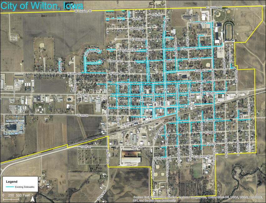 A map of Wilton's sidewalk system is shown above, with current sidewalks in blue. A group of University of Iowa students conducted a recent survey on sidewalk use in Wilton, noting lack of continuity as an issue.