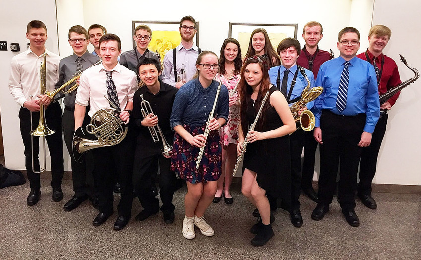 These North Scott High School band students were selected for the Augustana Honor Band: Pictured (l-r) are Seth Schrock, Cameron LaPage, Conner Ambrosy, Jackson Schrock, Nolan Blodig, Derek Friederichs, Kyle Jecks, Megan Hall, Katherine Carriere, Kylee Friederichs, Georgia Nissen, Marc Gaskin, Isaac Mize, George Behnke, and Nathan Tague.