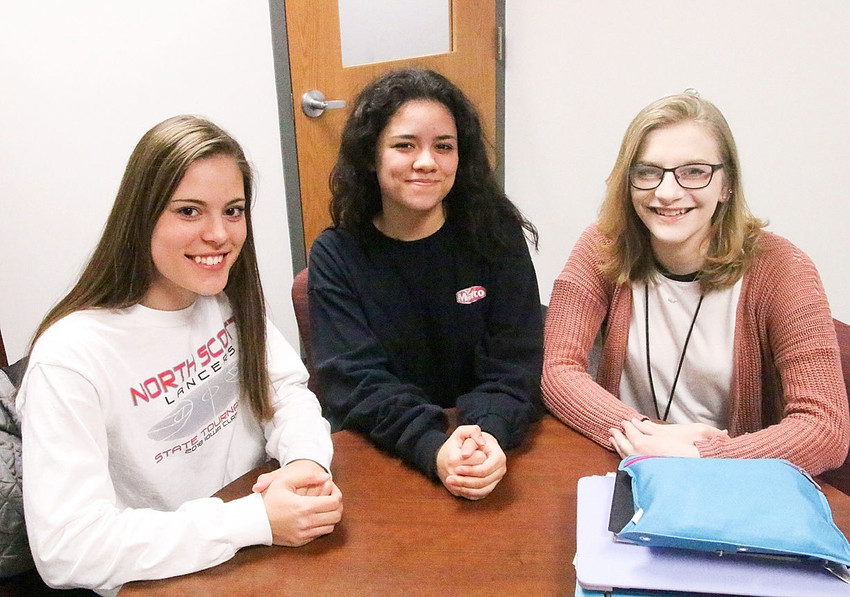 These three North Scott students have been instrumental in planning Friday's walkout that will draw attention to gun violence and school safety issues. From left: Kyleigh Westlin, Ivy Jensen and Alexis Raleigh.