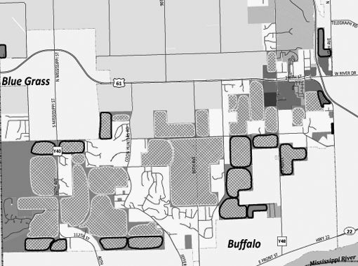 This detail from the new land use map shows areas identified for development only after annexation to Buffalo or Blue Grass.