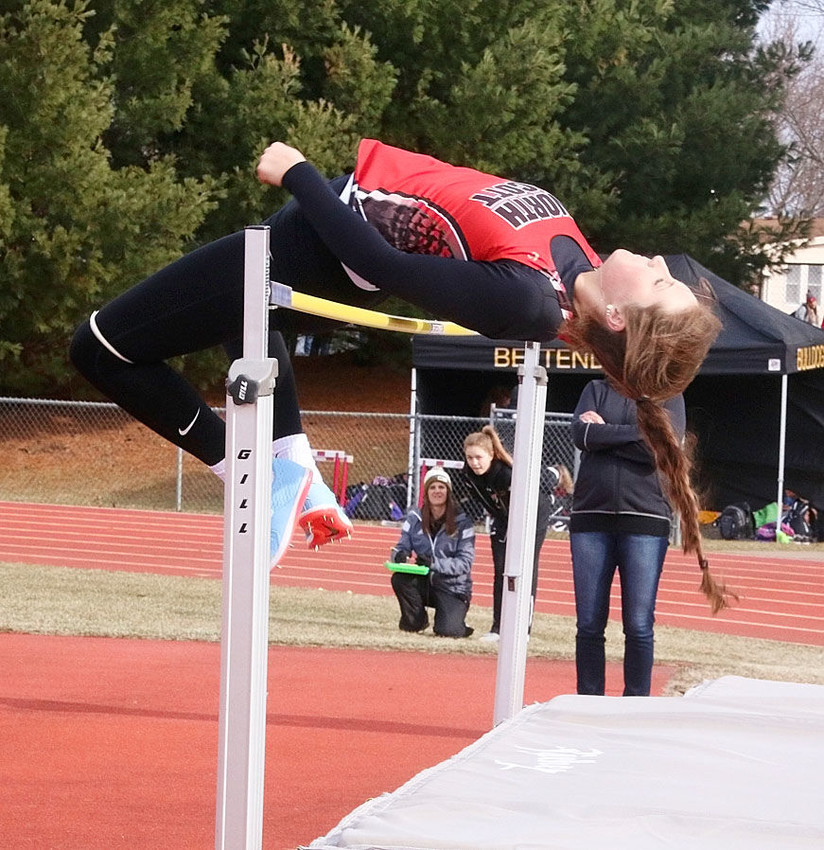 """Lancer senior Alexis Hayes won the high jump event at last week's Lady Lancer Relays with a personal best leap of 5'3""""."""