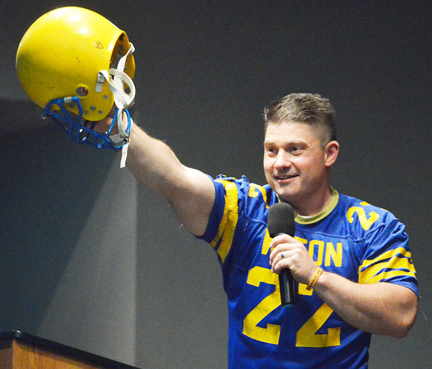 Joe Brammeier hosted the alumni banquet, donning several outfits.